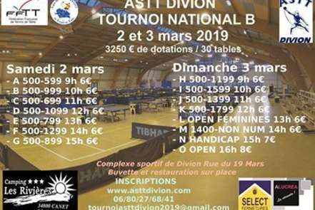 Tournoi National B 02/03 Mars 2019